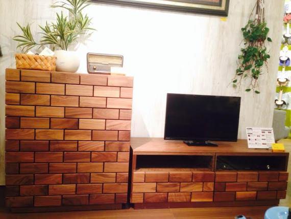 テレビボード キャビネット 無垢 レンガ