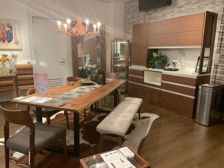 ダイニングセット リビングハウス 堀江 オレンジストリート 家具 照明 キッチンボード チェア 一枚板 おしゃれ ウォールナット かっこいい シック