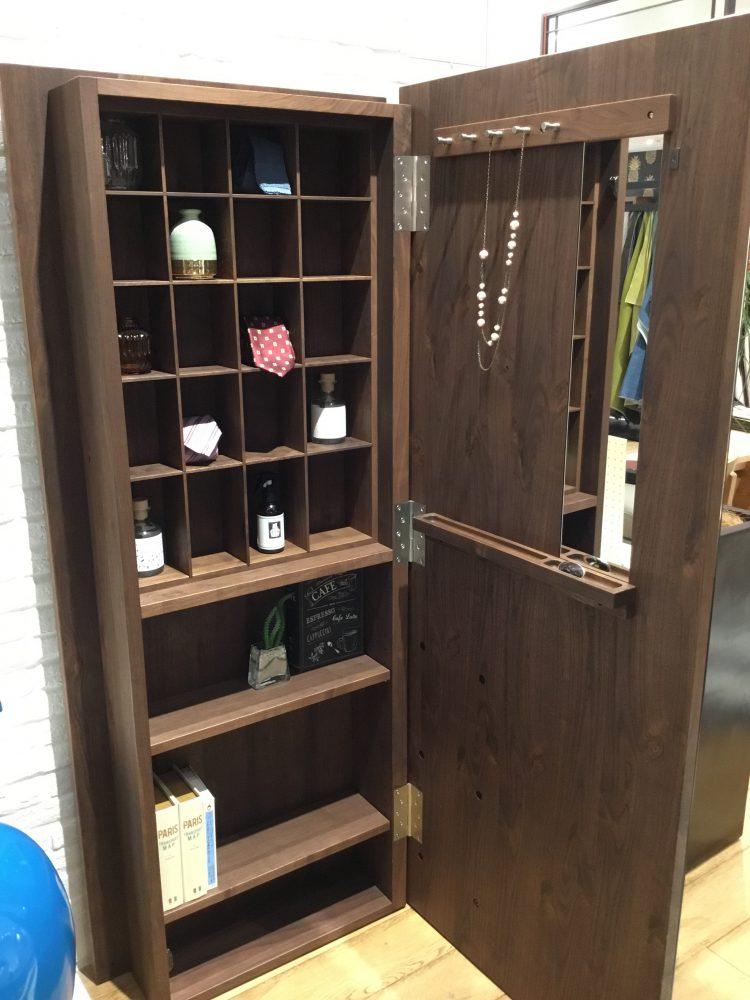 インテリア ミラー 無垢材 飾り棚 シェルフ