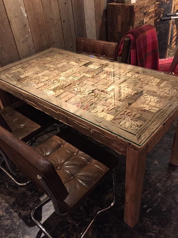 古材 ダイニングテーブル ガラス KARE