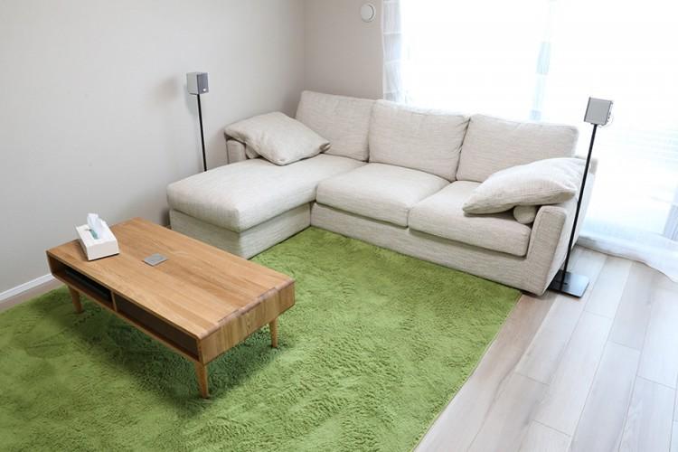 カウチソファ ラグマット グリーン テーブル