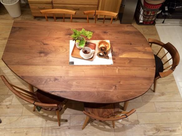 ウォールナット 変形 ダイニングテーブル 無垢材 天然木