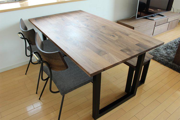 ダイニングテーブル ウォールナット モザイク スチール脚