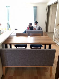 オーク ダイニングテーブル 天然木 スチール脚 チェア ベンチ