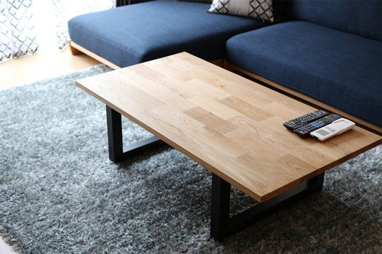 ローテーブル オーク材 モザイク スチール脚