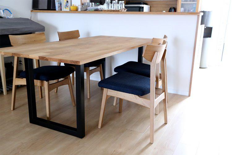 ダイニングテーブル オーク材 モザイク スチール脚