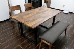 ダイニングテーブル チェア ベンチ ウォールナット 無垢 オシャレ モザイク