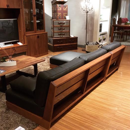 ローソファ 低いソファ レザーソファ 木と革のソファ